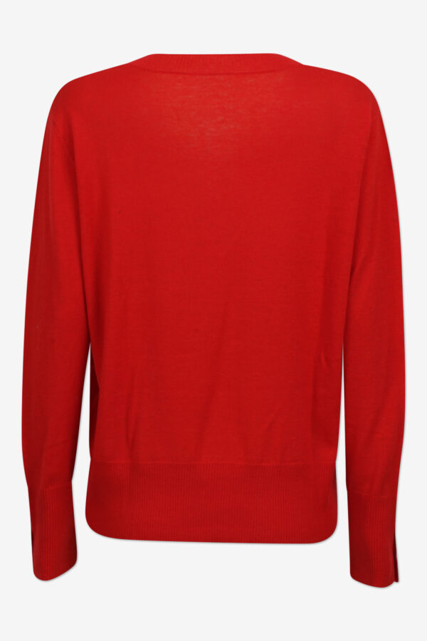 Bright red merino V-neck sweater back
