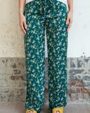 Green flower palazzo trousers