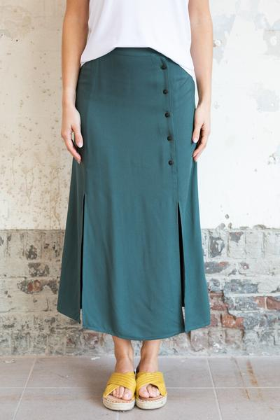 Green skirt with splits detail