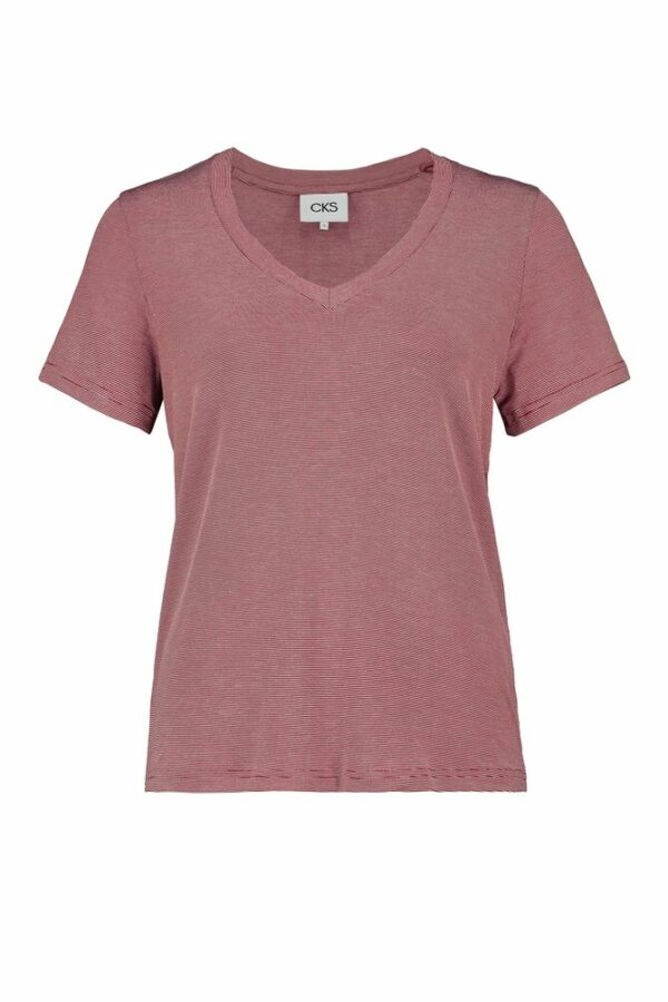 Red V-neck t-shirt front