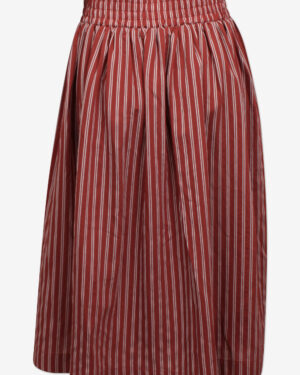 striped red wide skirt with large elastic waistband