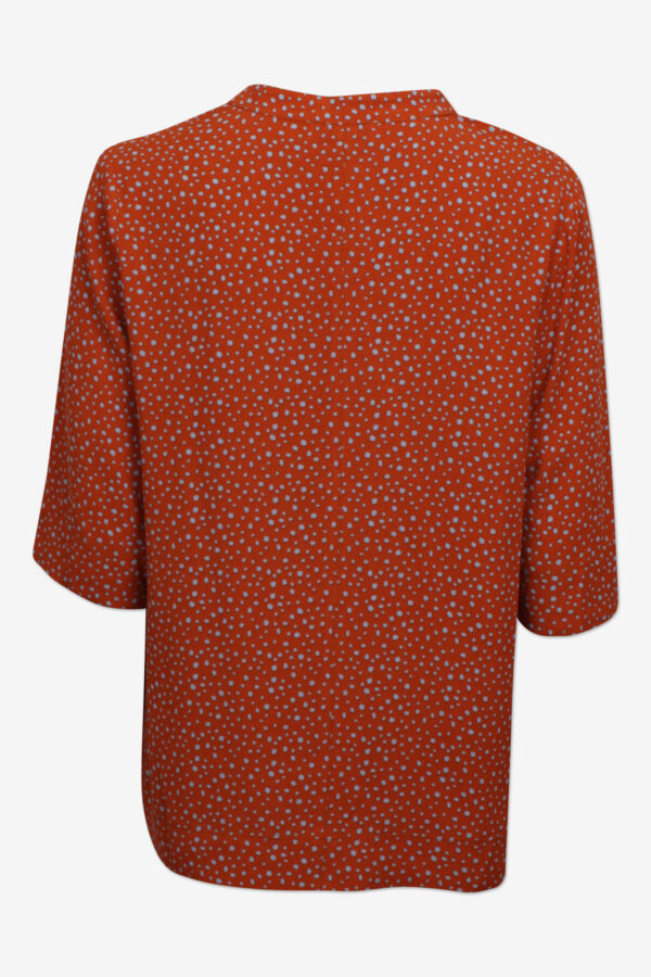 Short sleeve viscose top in coral