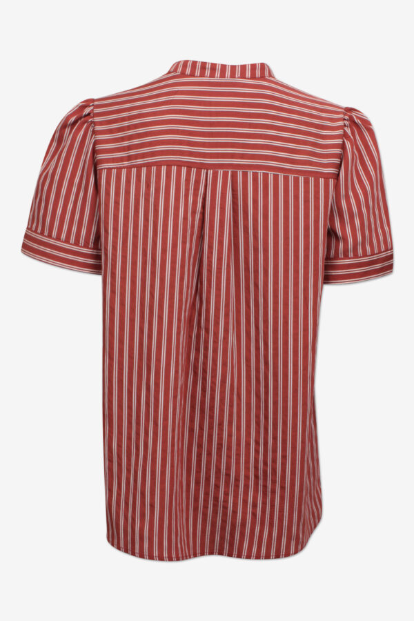 Back of striped red short sleeve blouse
