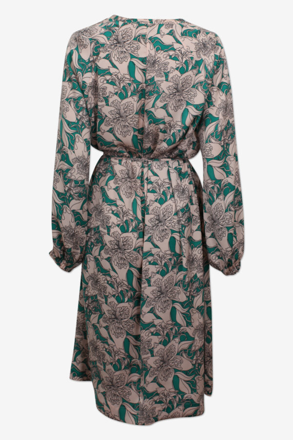 Back view of midi length dress in a flower print in light pink and green