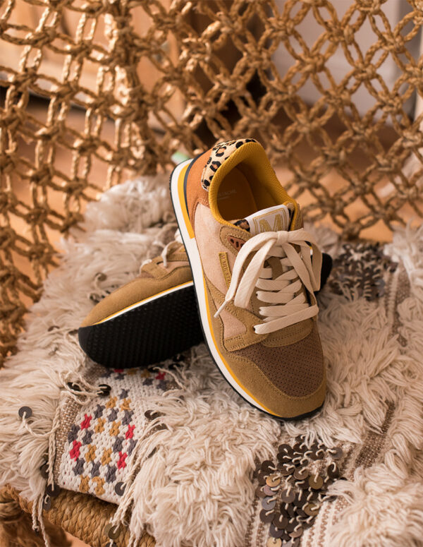 Beige trainers with leopard