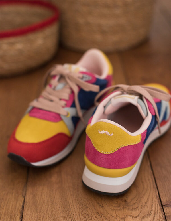 Trainer in pink yellow and blue