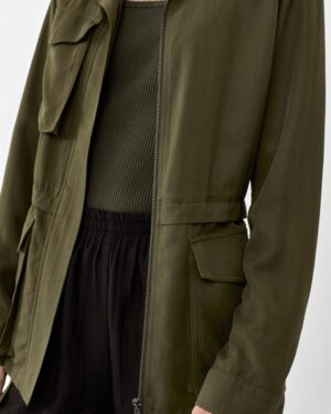 Khaki green parka jacket in tencel