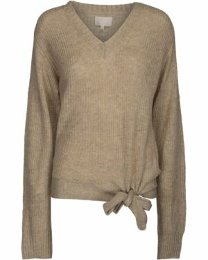 Beige V-neck knit front