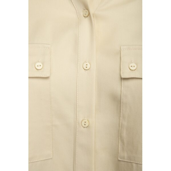 Ecru Tencel blouse with pockets on the chest and roll-up sleeves detail