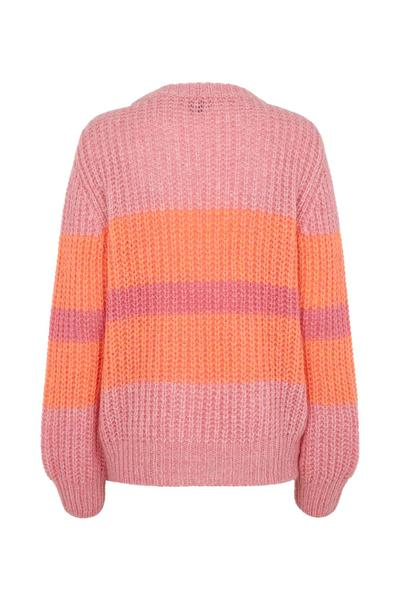Pink knitted pullover with neon orange stripes