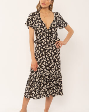 Woman wearing a black flower midi dress