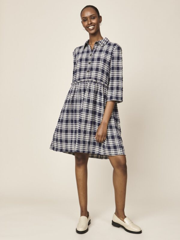Woman wearing a navy checked dress front
