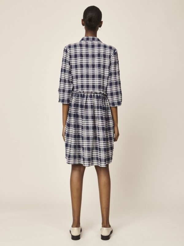Woman wearing a navy checked dress back