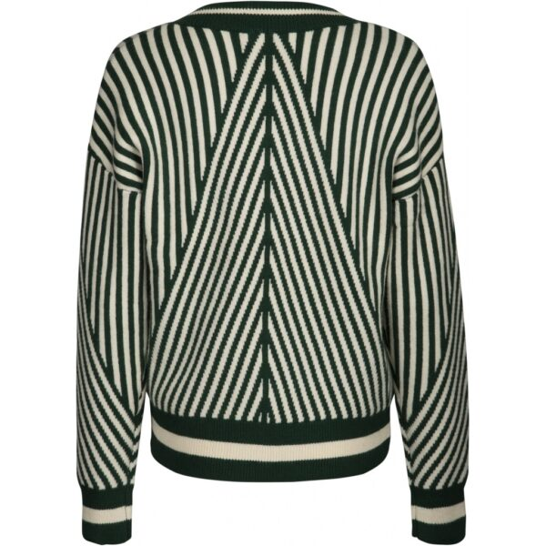 Green & white striped V-neck pullover back