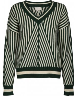 Green & white striped V-neck pullover front
