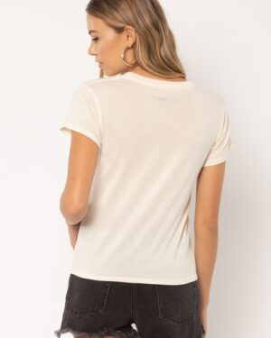 "Back of Woman wearing a white t-shirt with ""Where's my Champagne"""