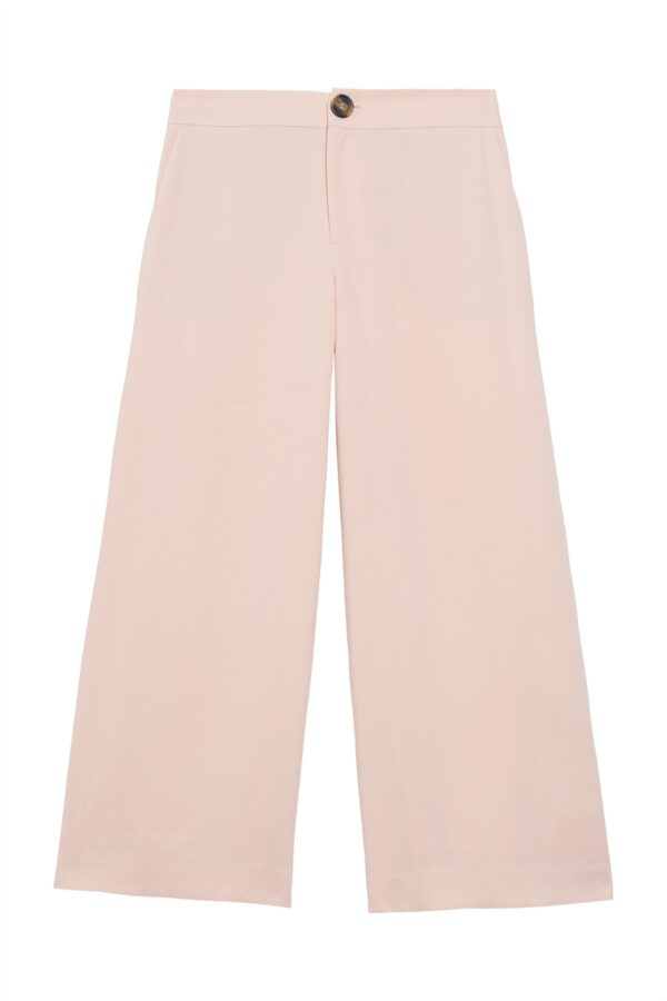 Blush cropped wide trousers