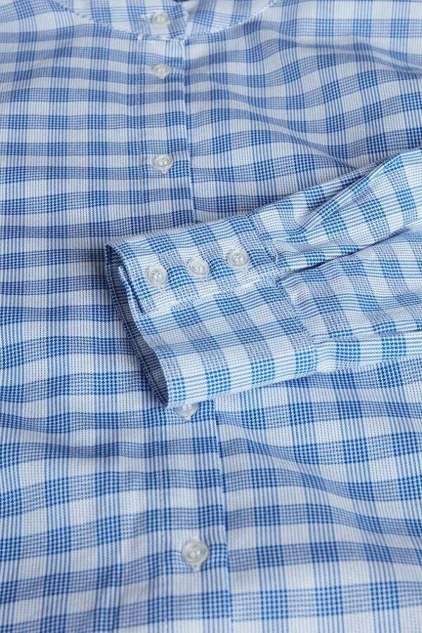 Detail of blue checked Milano shirt