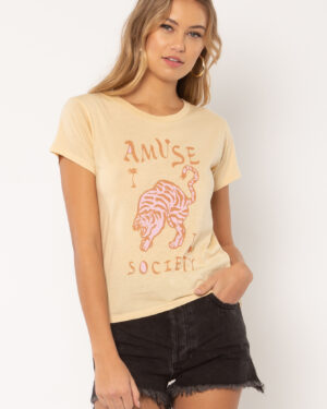 Woman wearing Wild Me t-shirt from Amuse Society