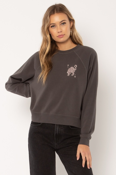 Woman wearing Wild Me sweater from Amuse Society